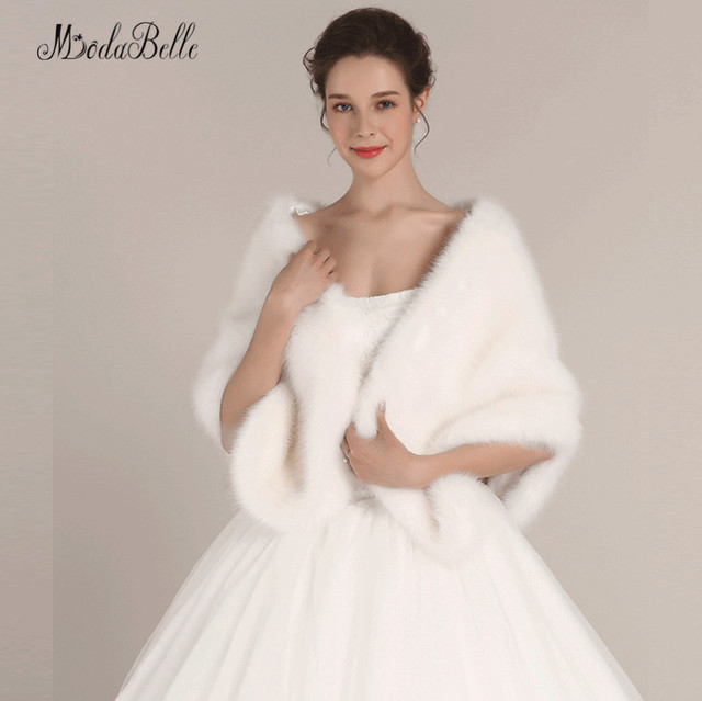 modabelle White Faux Fur Winter Wedding Wraps Shoulder Shawl Bridal ...