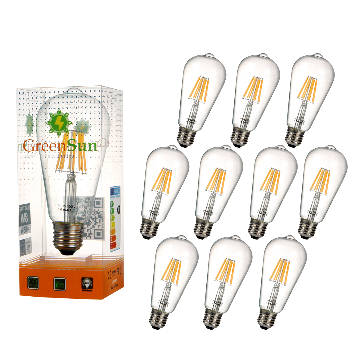 10Pcs E27 8W Edison LED Tungsten filament Filament Light Candle Lamp Energy Saving Bulb Warm White 50pcs retro vintage edison e14 led bulb st45 2w led filament glass light lamp warm white energy saving lamps light ac220v