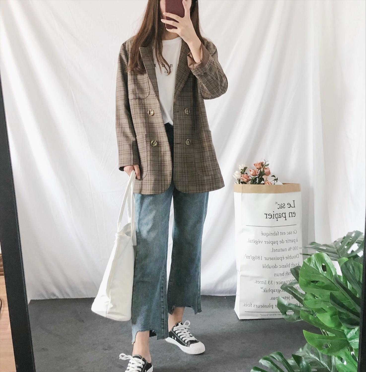 New Fashion Women Plaid Blazer Coats Gray Vintage Double Breasted Formal Suit Jacket Office Lady Norched