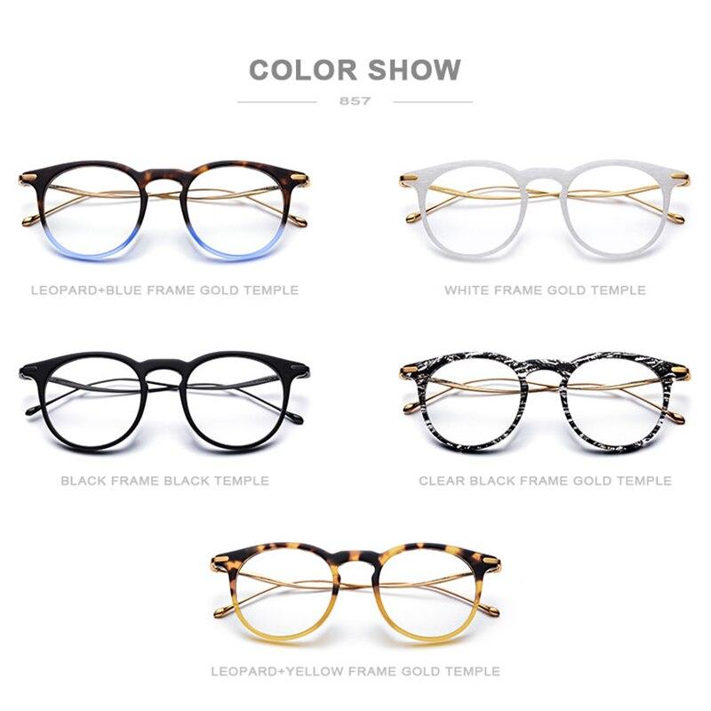 B titane acétate optique lunettes cadre hommes Vintage Prescription lunettes 2019 femmes rétro ronde myopie lunettes de vue 857 - 5