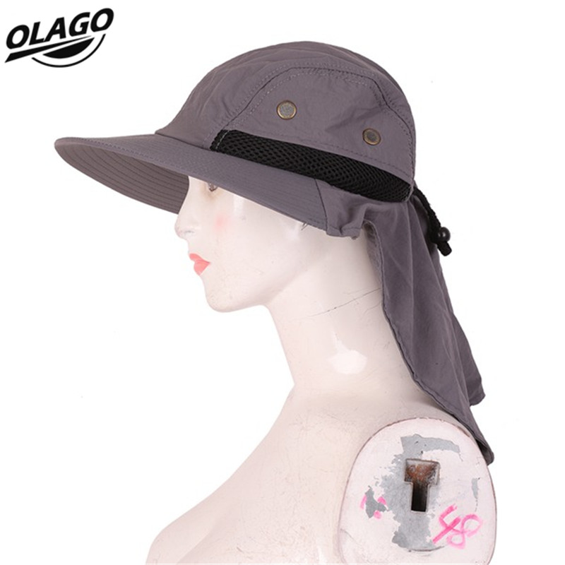 Outdoor Fishing Hiking Boonie Snap Hat Brim Ear Neck Cover Sun Flap Cap Four color