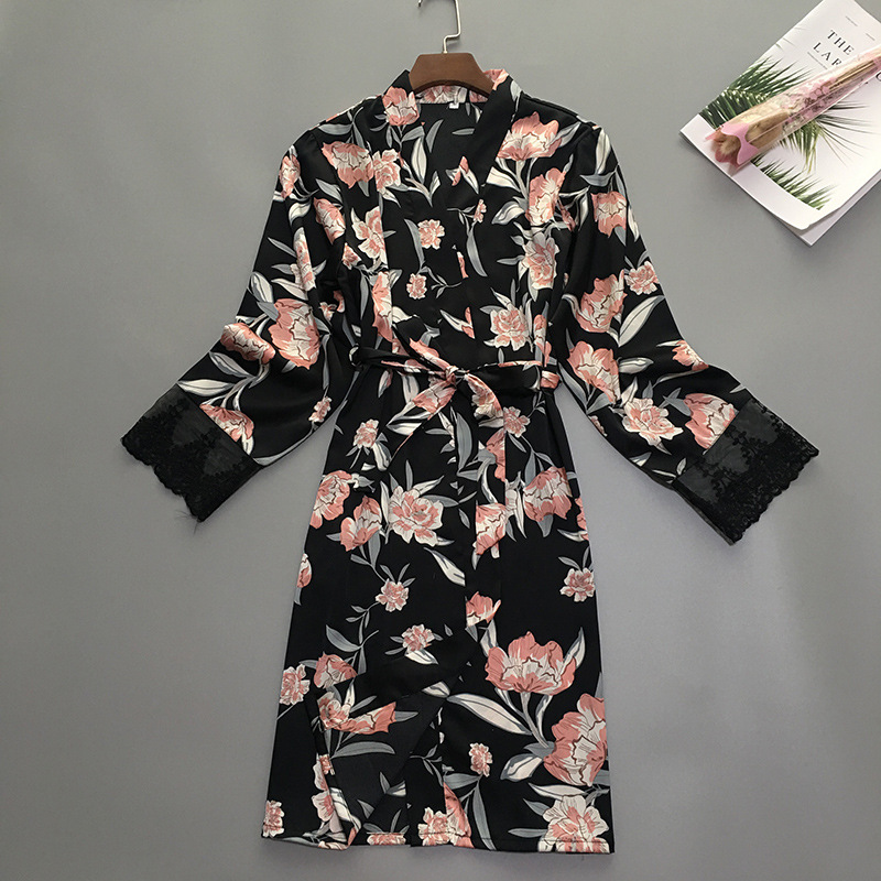 Summer Womens Sleep Robe Pajamas Sleepwear Lady Home Wear Nightgown Sexy Kimono Bath Gown Sleepshirts M XL-in Robes from Underwear & Sleepwears