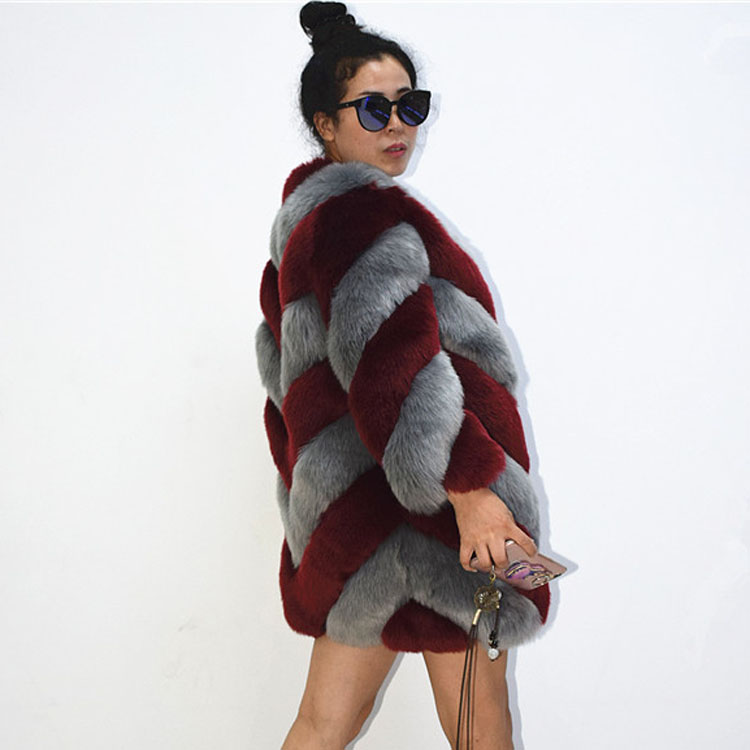 ZADORIN Designer Brand Luxury Faux Fox Fur Coat Women Plus Size Winter Coat Thick Warm Fake
