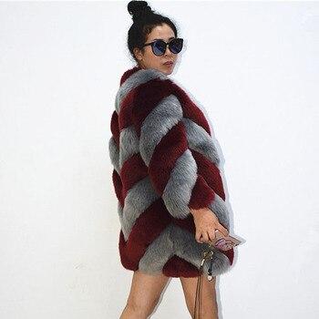e8265d92848ba ZADORIN diseñador de la marca de lujo de abrigo imitación de piel de zorro  Mujer Plus