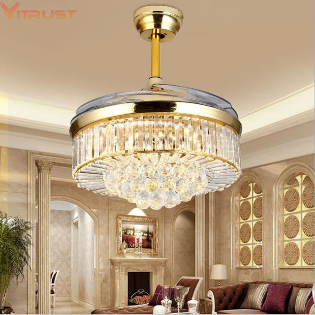 Crystal Ceiling Fan Lights Lamps Modern folding ceiling fan Dining Living Room Bedroom Gold Crystal Lamp Fan remote control