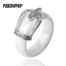 New Ring Jewelry CZ Stone Stainless Steel Belt Crown RING Black White Big Size 10 1112 Ceramic Big Ring For Men Women Jewelry