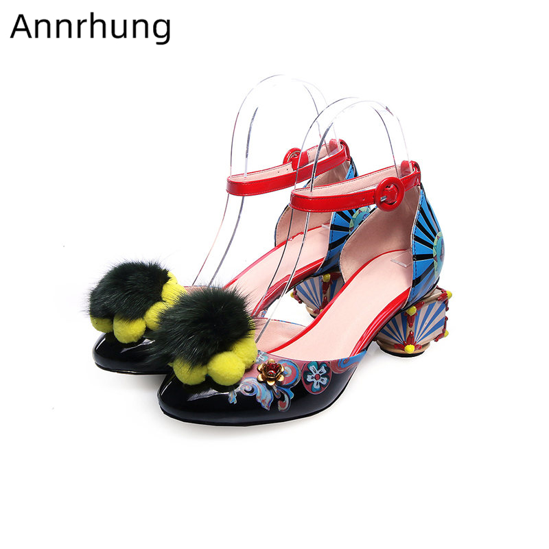 Novelty Mixed Color Graffiti Gladiator Women Sandals Ankle Buckle Round Toe Heels Fur Pompoms Flower Sandalias Mujer 2019Novelty Mixed Color Graffiti Gladiator Women Sandals Ankle Buckle Round Toe Heels Fur Pompoms Flower Sandalias Mujer 2019