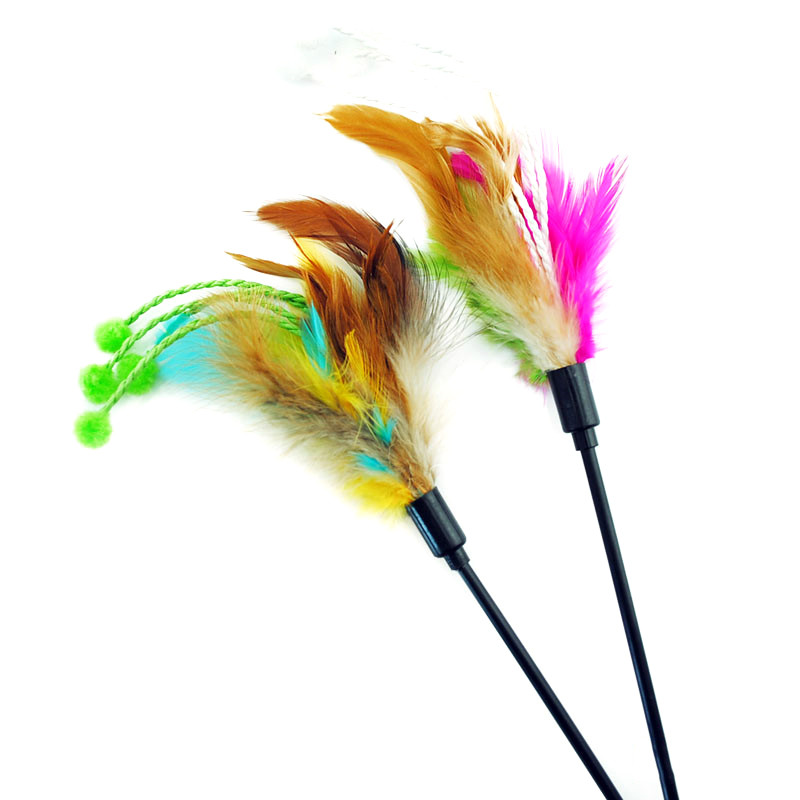 Randomly color Top quality Pet cat toy Cute Design bird Feather Teaser Wand Plastic Toy for cats Multi Products interactive toy