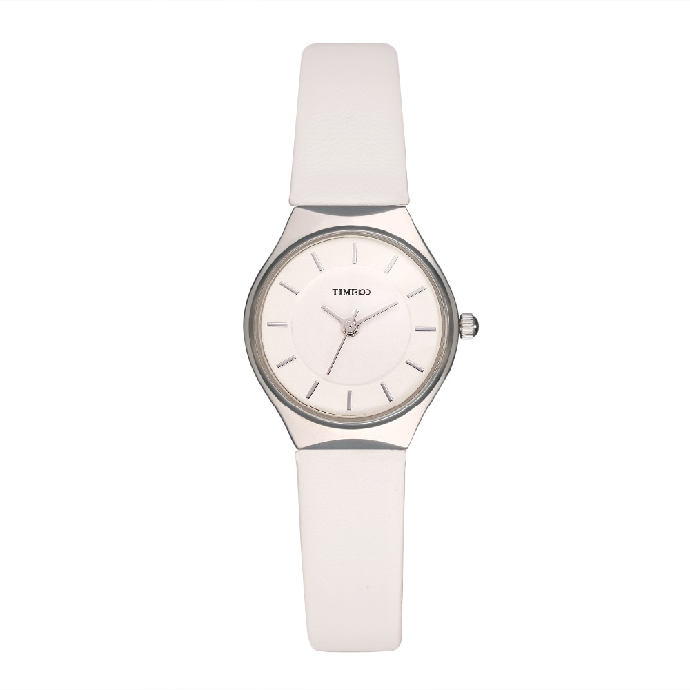Time100 Simple Women Watch Business ultrathin Dial Black White Coffee Leather Strap Ladies Quartz Wrist Watches