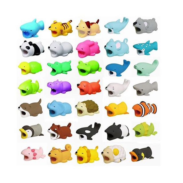 New Bite Cartoon Cable Protector for Iphone cable Winder Phone holder Accessory cable biters dog rabbit cat Animal squishy toys