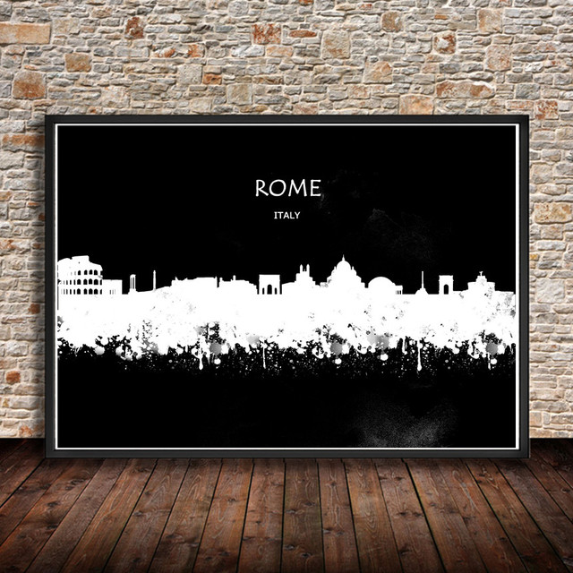 ROME Italy Abstract Watercolor City PRINT Painting Print Poster House Decor Wall Sticker Living Room Bar