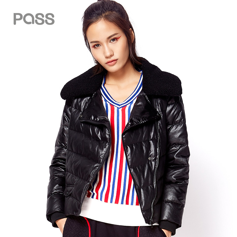 PASS 2017 New Sportwear Down font b Jacket b font Solid Warm Feather Collar Loose Coats