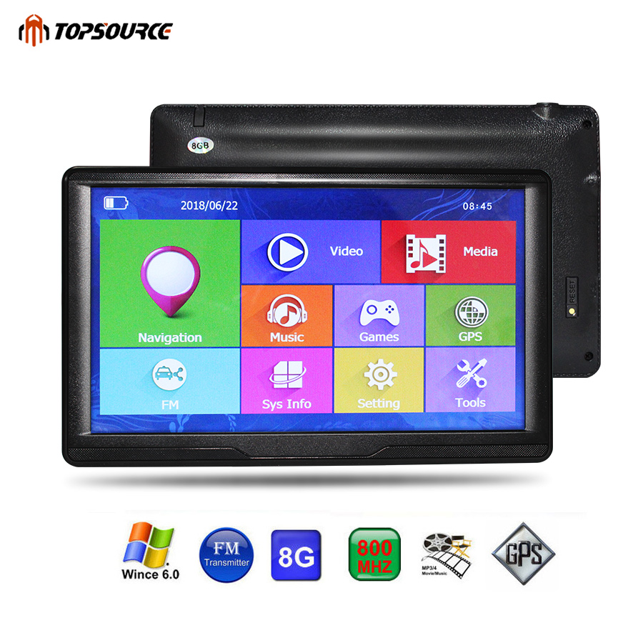 TOPSOURCE Car GPS Navigation 7 Inch HD Touch Screen Ce6.0