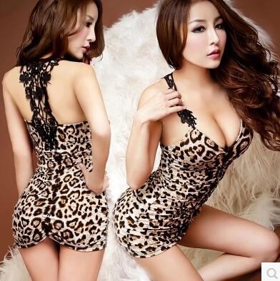 Womens Underwear Sexy Lingerie Babydoll Sleepwear Night Dress Black Asian Leopard M Free Shipping