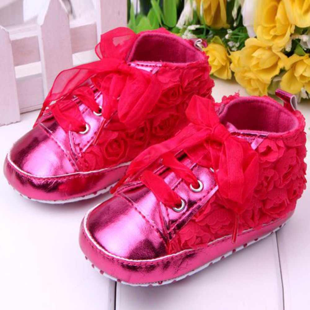 Full Rose Flower Prewalker Baby Shoes Soft Bottom Toddler Crib Shoes 4Colors New