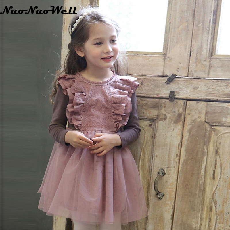 NNW New Autumn Teenager Girls Lace Dress Long Sleeve With Bow Belt Princess Children Party Dress Wedding 3-10 Years Party Clothe 2017 new fashion dress cute girls long sleeve dress spring autumn princess wedding party fancy children clothing 3 8 years