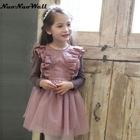 NNW New Autumn Teenager Girls Lace Dress Long Sleeve With Bow Belt Princess Children Party Dress Wedding 3-10 Years Party Clothe