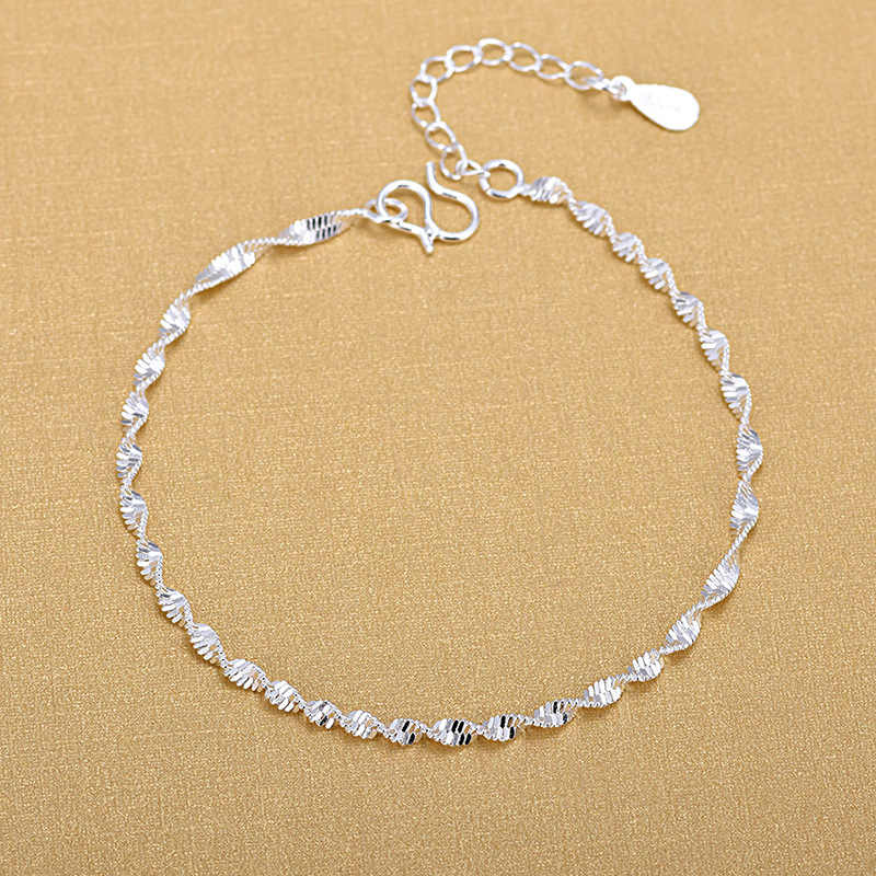 Fashion Simple Elegant 925 Silver Twisted Chain Bracelets Jewelry For Woman Gifts 2018
