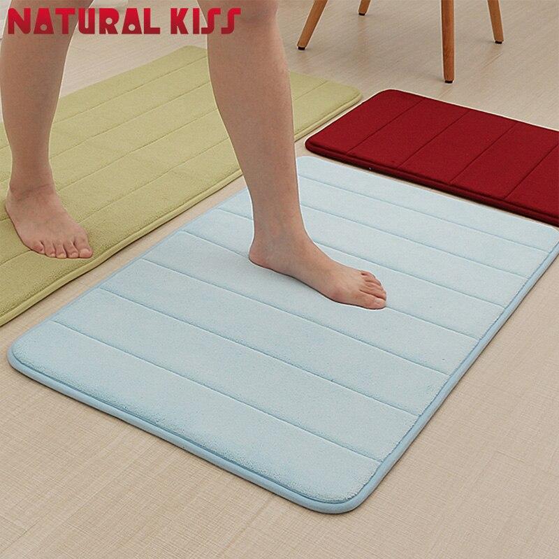 40x60cm Stripe Memory Foam Bath Mat Horizontal Stripes Rug Non-slip Coral Fleece Mats Cotton Absorbent carpet