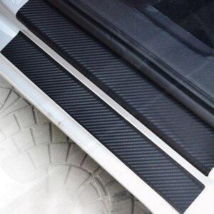 Universal Car Door Sill Guard Sticker Film 4pcs Anti Scratch Carbon Scuff Pedal Guards Cover Door Sill Plate Fiber Sticker(China)