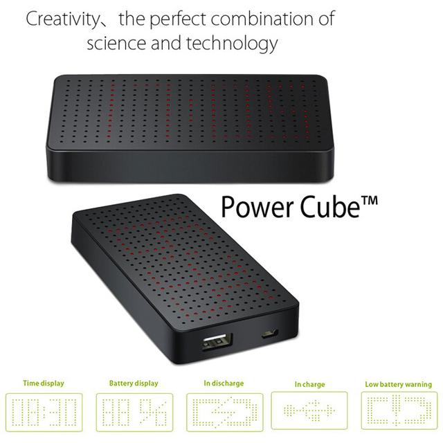 Fengenius originais Cubo de Alumínio de Energia Móvel Universal 5200 mAh Banco Do Poder Super LED Display Inteligente com Relógio tempo de Configuração