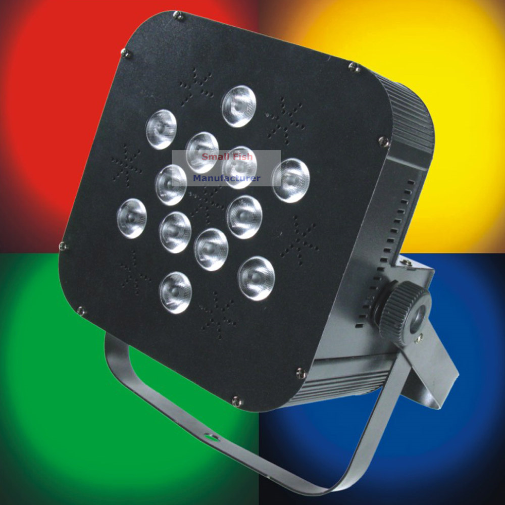 Free Shipping 12XLot IR Remote 12X18W Led Flat Par Light RGBWA-UV 6IN1 Color Mixing Black/White Housing No Battery Cheap Price