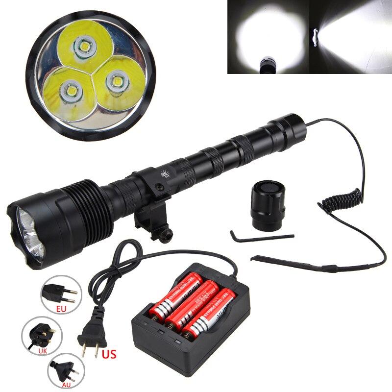 Мощный 10000LM светодио дный охота свет 3 * XM-L T6 тактический фонарь оружие + 3*18650 + пульт Давление выключатель + прицел Крепление + Зарядное устрой...