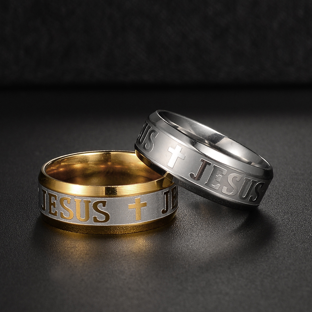 New Simple Jesus Cross Stainless Steel Circle Finger Rings for Women Men Unisex Wide Rings Prayer Christian Religious Jewelry