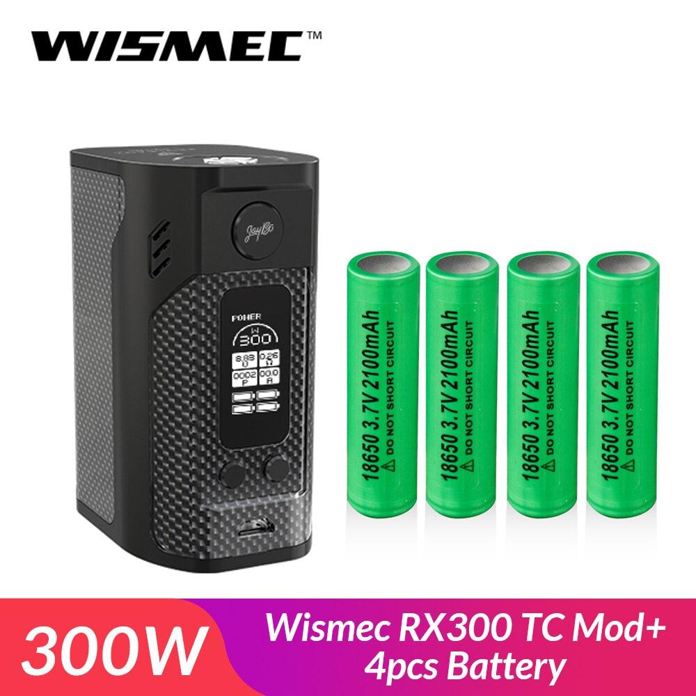 D'origine Wismec RX300 TC Mod Boîte De Fiber De Carbone 300 W avec 4 pièces 18650 batterie cigarette Électronique vape Batterie mod