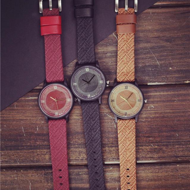 Wood Retro Vintage Leather Quartz Clock