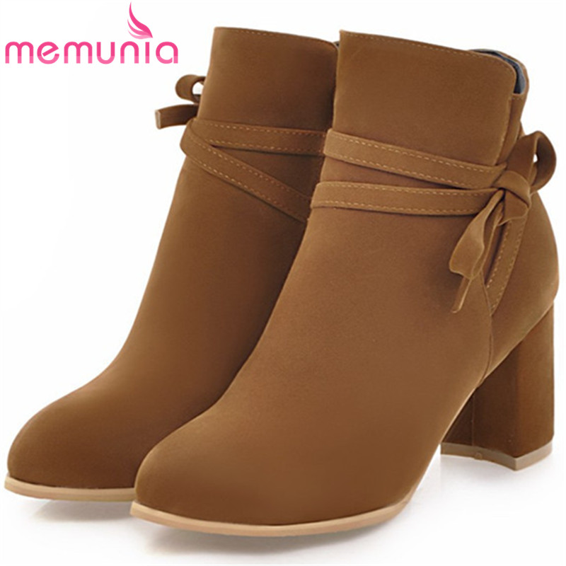 MEMUNIA black beige gray women boots fashion round toe zipper ladies boots flock square heel bowknot ankle boots big size 33-43 игрушка ecx ruckus gray blue ecx00013t1