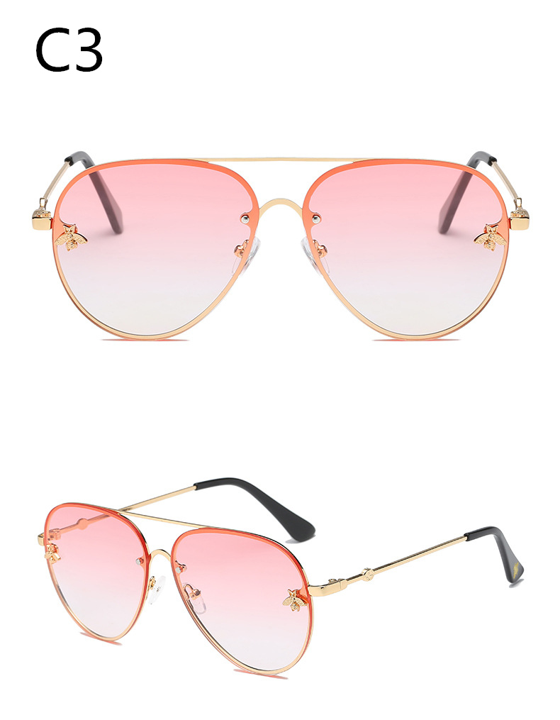 ASOUZ 2019 new fashion ladies sunglasses UV400 metal oval frame bee sunglasses classic brand design sports driving sunglasses (3)
