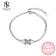 INALIS 925 Sterling Silver Frog Chain Link Bracelet for Women Romantic Cubic Zircon Crystal Jewelry Marriage Gift