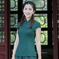 High Quality Green Chinese Women S Cotton Linen Shirt Elegant Slim Blouse Summer Ethnic Style Shirt