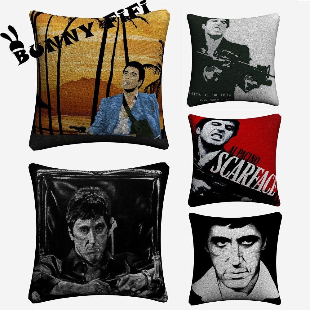 Scarface Cushion Covers DIY Decorative Square Throw Pillow Cover Chair Sofa Seat Car Cotton Linen Pillowcase Soft