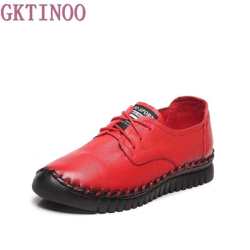 GKTINOO New Handmade Shoe 2018 Loafers Women Shoes Casual Work Driving Shoes Women Flats Lace-Up Genuine Leather Flat Shoe new spring summer genuine leather shoes women flats lace up women moccasins loafers casual handmade woman driving shoes 6 color