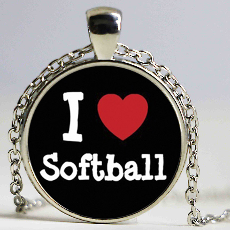 New i love softball necklace sports pendants round jewelry glass new i love softball necklace sports pendants round jewelry glass photo cabochon necklaces handmade accessory in pendant necklaces from jewelry accessories mozeypictures Gallery