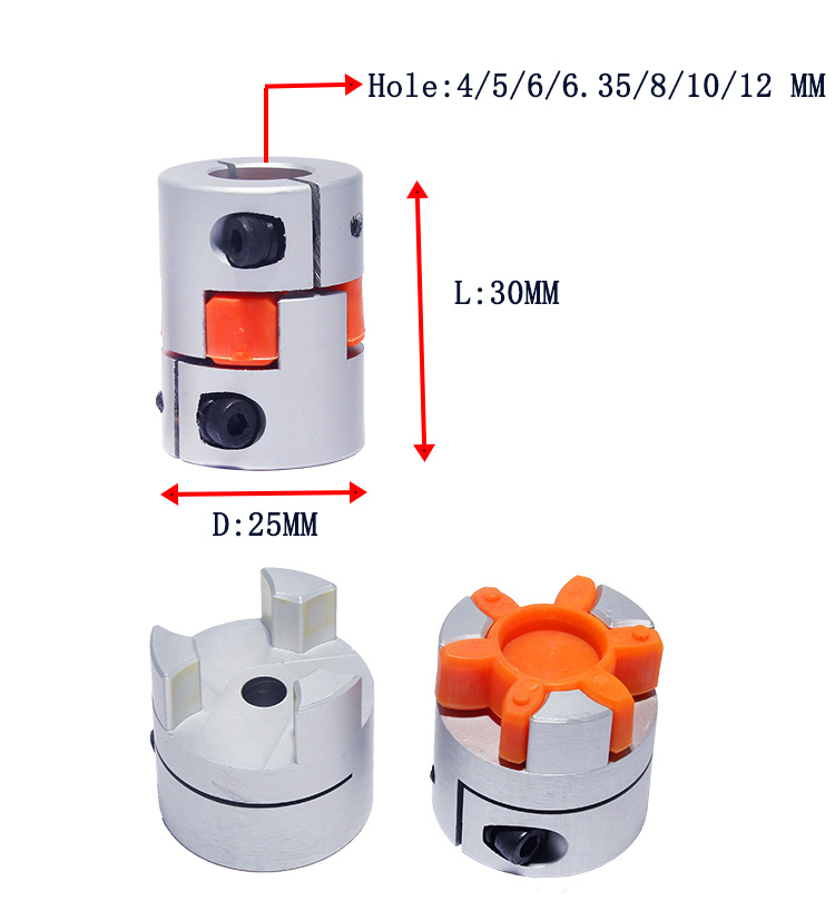 DS-Wang Motor Aluminum Flexible Spider Shaft Coupling OD25mm X L30mm CNC Stepper Motor Coupler Connector 12mmx12mm Linear Motion Products