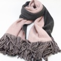 Double-sided Thick Cashmere Fringed Scarf Female Spanish Long Bandanas  Luxury brand Winter Students Wild Pure Color Shawl