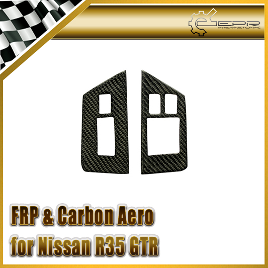 EPR Car Styling For Nissan R35 GTR Carbon Fiber Car Window Switch Control Panel Cover RHD Accessories Racing new 2pcs side mirror cover for nissan skyline r34 gtt gtr carbon fiber car accessories car styling