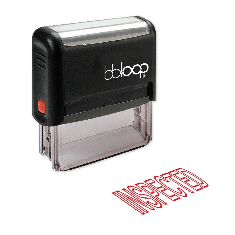 BBloop INSPECTED Outline Self-Inking Stamp, Rectangular, Laser Engraved, RED/BLUE/BLACK 10 digit 9 wheels gray light blue rubber band self inking numbering stamp