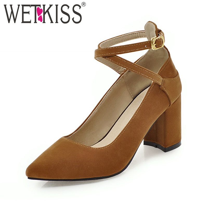WETKISS High Heels Women Pumps Pointed Toe Cross Tied Ankle Strap Square Heels Footwear New Spring Fashion Ladies Shoes Big Size 2018 new big size 34 42 women cross tied pumps stiletto ankle buckle gladiator high heels blue red platform wedding bridal shoes