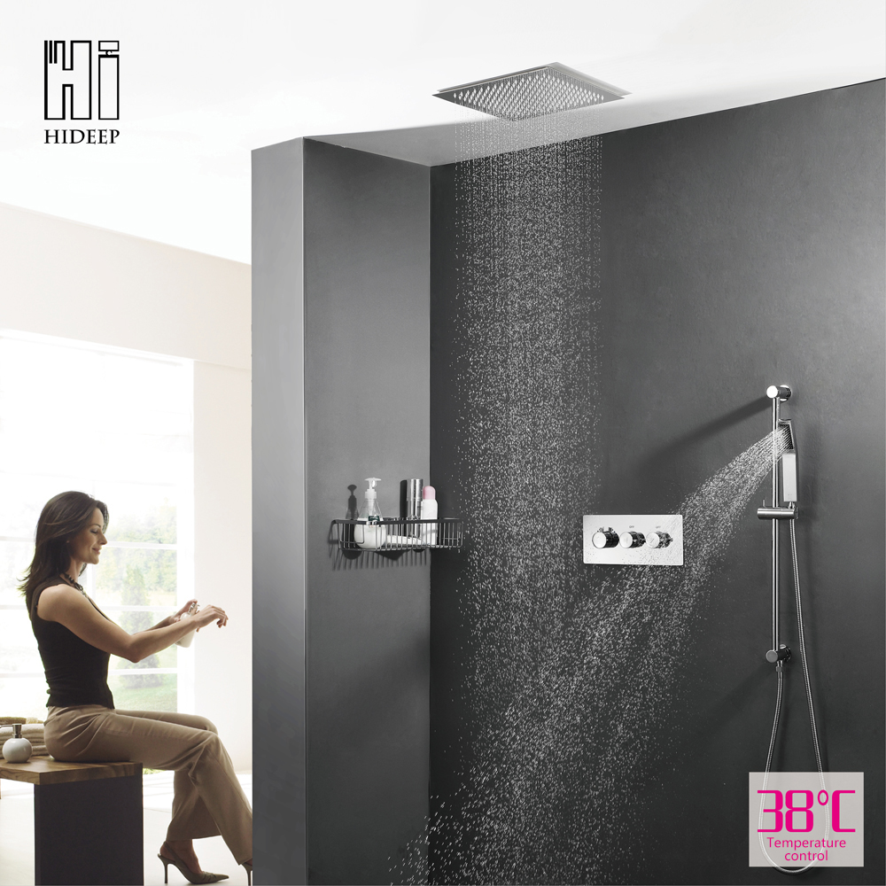 HIDEEP Solid Brass Bathroom Shower Set Thermostatic Change Faucets Two Function Control Faucet Bath Shower Mixers Rain Shower thermostatic control bathroom