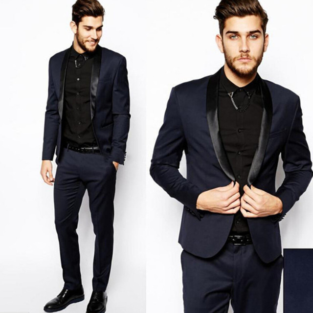 Formal Style Men Business Suits Wedding Slim Fit Fashion Blue Suit With Pants