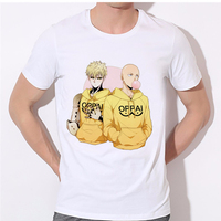 2017 New Mens T Shirts Cool One Punch Man Anime ONE Oppai T Shirts Hero White