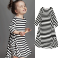 2016 New Striped Kids Dresses for Girls Cotton Summer Style Girls Dress Pocket A-lin Children's Dress Brief Toddler Girl Dress