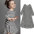 2016 New Striped Kids Dresses for Girls Cotton Summer Style Girls Dress Pocket A-lin Children's Dress Brief Toddler Girl Dress