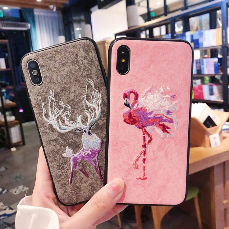 Case For iPhone 6 6S 7 Plus 8 plus X coque For Galaxy S8 S9 Embroidered pattern Retro style capa soft side back cover Fundas