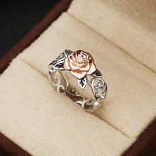 NoEnName 14k Rose Gold Flower Ring Retro 925 Silver Flower Hollow Engagement Ring Casual Sporty Crystal Diamante for Women Rings vintage chic diamante solid rose embellished alloy ring for women
