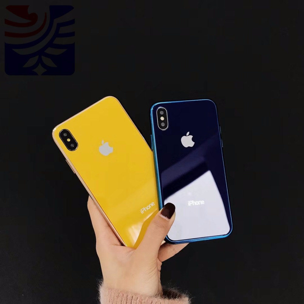 PEIPENG Luxury made of electroplated glass Anti-fall Phone Cases For iphone 6 6S 7 8 Plus X Xs Max Christmas gift Girl Simple 01